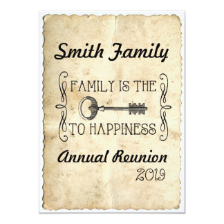 Family is the Key to Happiness Family Reunion Card