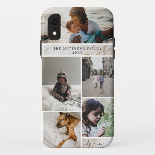 Family Keepsake Marble Custom 5 Photo Collage iPhone XR Case