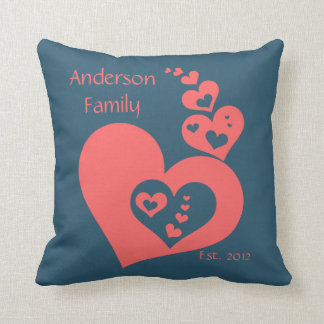 Family Keepsake, Slate & Rose Hearts Personalize Pillows
