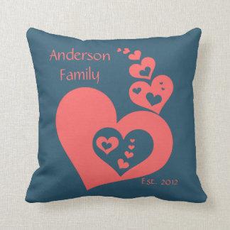 Family Keepsake, Slate & Rose Hearts Personalize Throw Pillow