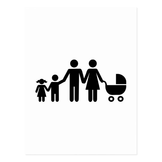 Family kids baby buggy postcard