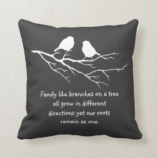 Family like branches on a tree Saying with Birds Throw Pillow