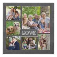 Family Love Custom Photo Collage Modern Chalkboard Faux Canvas Print