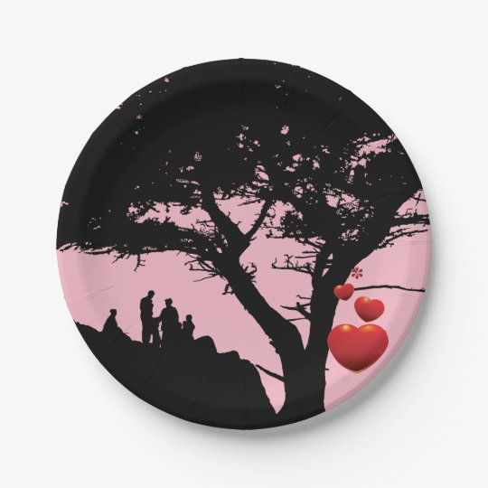 Family Love Family Tree Heart Tree pink red black Paper Plate  sc 1 st  Zazzle & Family Love Family Tree Heart Tree pink red black Paper Plate ...