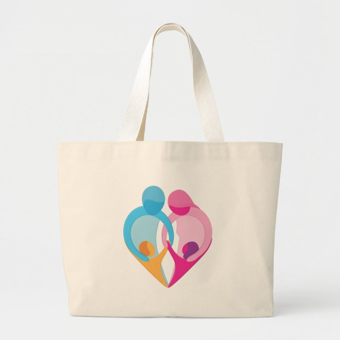 Family Love Heart Symbol Large Tote Bag