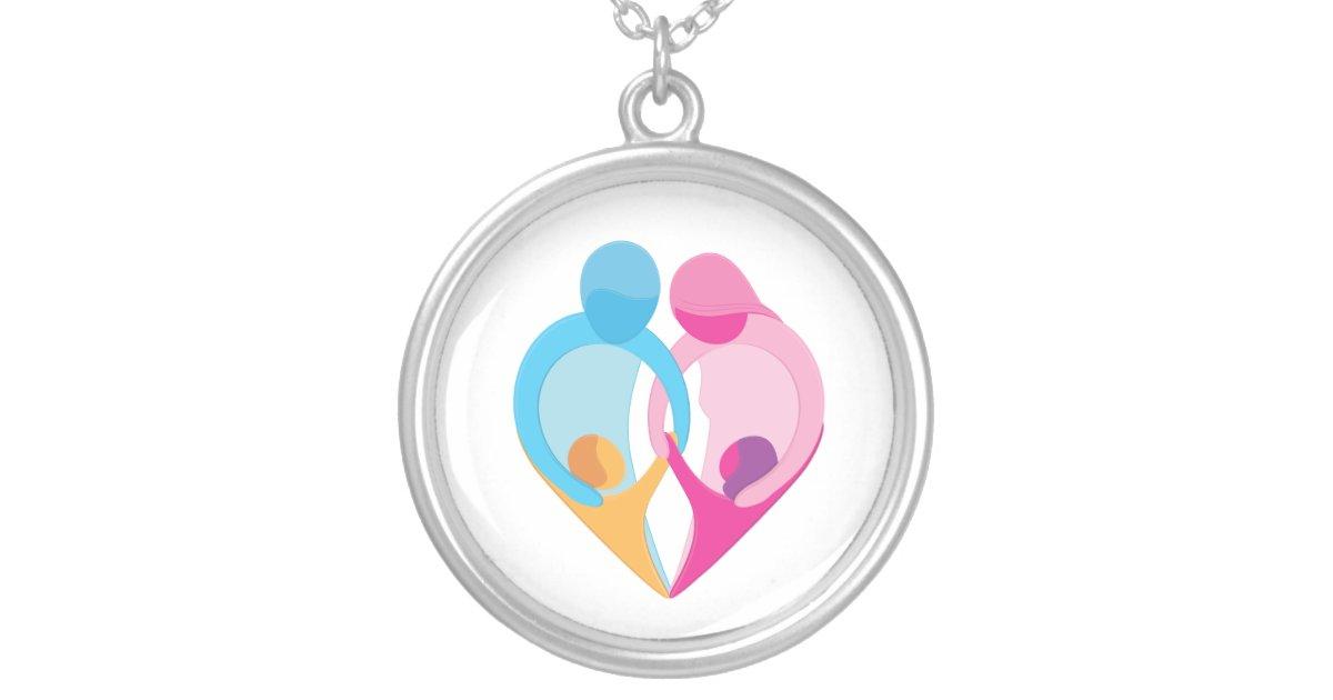 Family Love Heart Symbol Necklace Zazzle Com