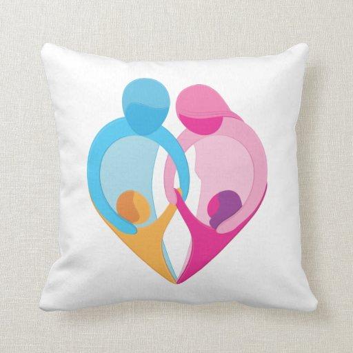 Family Love Heart Symbol Pillow