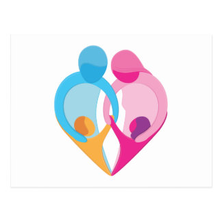 Family Love Heart Symbol Postcard