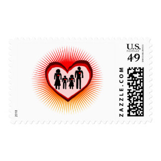 family  love in illustration stamps