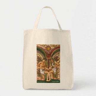 Family love symbol tote bags