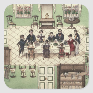 Family meal from a journal written by Carl Square Sticker