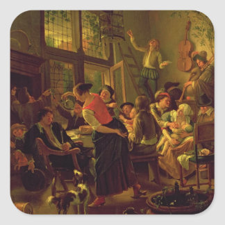 Family Meal (oil on canvas) Square Sticker