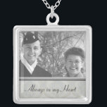 """Family Memorial Photo Necklace<br><div class=""""desc"""">This silver photo necklace is ready for you to insert your own photo and change the text. This beautiful necklace is perfect as a gift for friends and family, or buy one for yourself. The image and text is fully CUSTOMIZABLE. Click &quot;customize&quot; to adjust photo size or text size. MORE...</div>"""