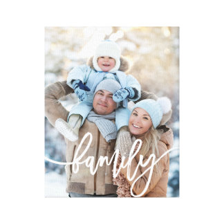 Family | Modern White Typography with your Photo Canvas Print