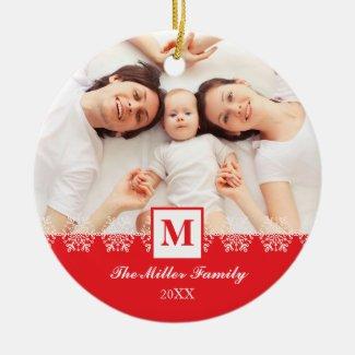 Family Monogram Chirstmas Ornament