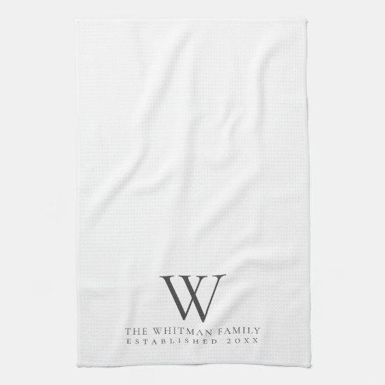 Family Monogram Elegant Kitchen Hand Towel