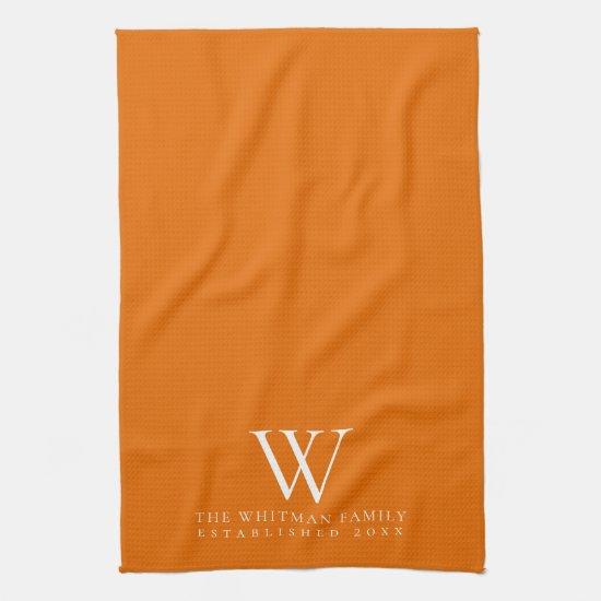 Family Monogram Elegant Orange Kitchen Kitchen Towel