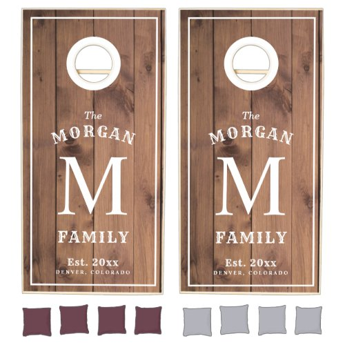 Family Monogram Light Wood Styled Cornhole Set
