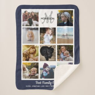 Family Monogram Photo Collage 11 Instagram Photos Sherpa Blanket