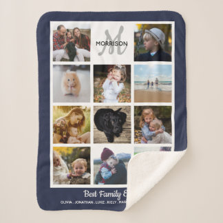 Family Monogram Photo Collage 11 Instagram Photos Sherpa Blanket