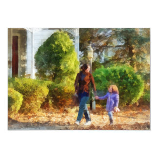 Family - Mother and Daughter Taking a Stroll Personalized Invitations