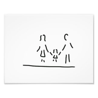 family mother father daughter photo print