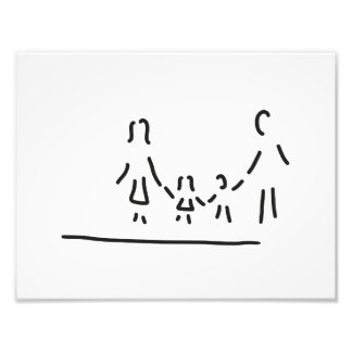 family mother father of two children photo print