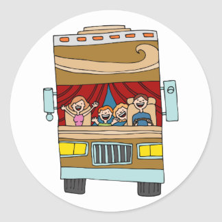 Family Motor Home Vacation Cartoon Classic Round Sticker