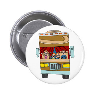 Family Motor Home Vacation Cartoon Pinback Button