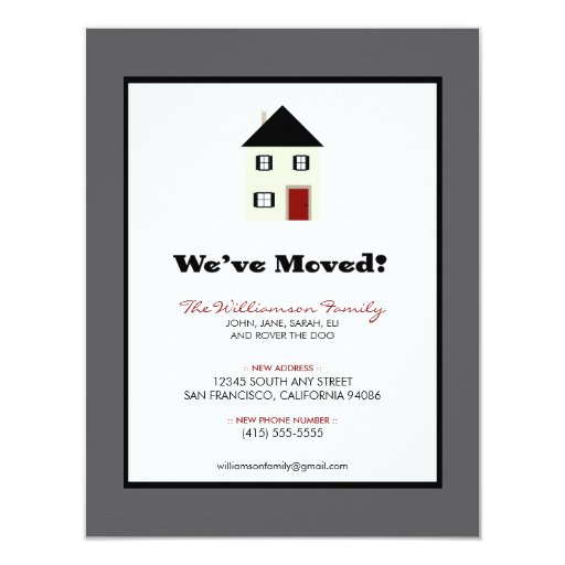 """Family Moving Announcement 4.25"""" x 5.5"""" :: slate 4.25"""" X 5.5"""" Invitation Card"""