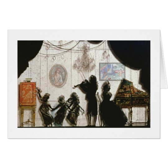 Family Musical Scene, silhouette (black paint on g Card
