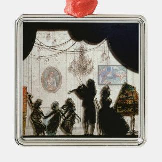 Family Musical Scene, silhouette (black paint on g Metal Ornament