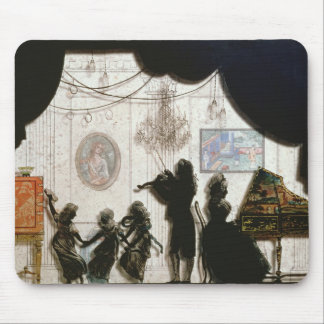 Family Musical Scene, silhouette (black paint on g Mouse Pad