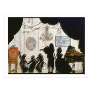 Family Musical Scene, silhouette (black paint on g Postcard