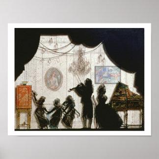 Family Musical Scene, silhouette (black paint on g Poster