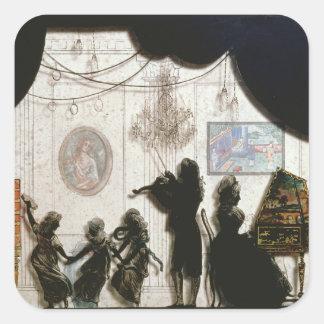 Family Musical Scene, silhouette (black paint on g Square Sticker
