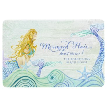 Beach Themed Family Name Beach House Mermaid Hair Ocean Wood Floor Mat