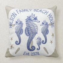 Family Name Beach House Seahorses Throw Pillow