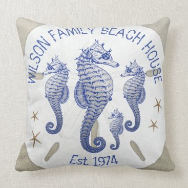 millhill Family Name Beach House Seahorses Throw Pillow
