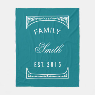 Family Name Biscay Bay Elegant Personalized Fleece Blanket