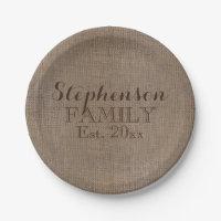 Family Name Burlap Rustic Paper Plate
