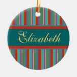 Family Name Christmas Ornaments - Vintage Stripes