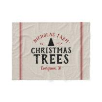 Family Name Christmas Tree Farm Grain Sack Fleece Blanket