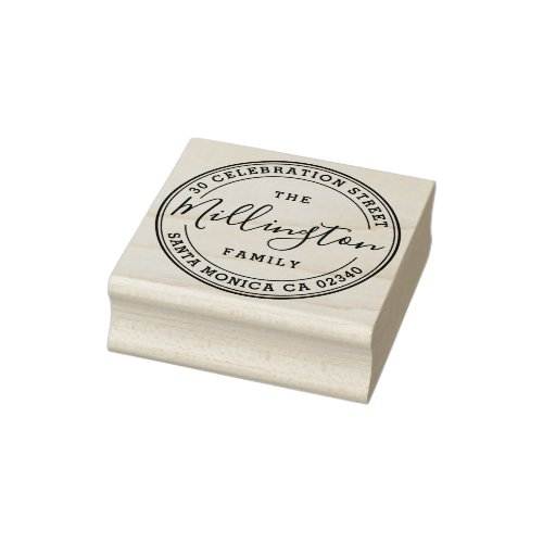 Family Name  Create Your Own Round Return Address Rubber Stamp