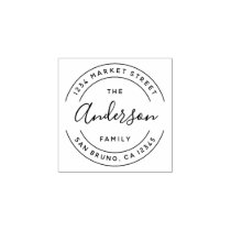 Family Name | Create Your Own Round Return Address Rubber Stamp
