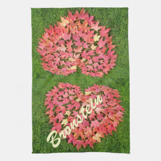 Family Name custom Kitchen Towels Autumn Leaves
