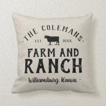 Family Name Farm and Ranch Grain Sack Throw Pillow