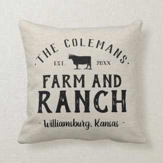 Family Name Farm and Ranch Grain Sack Throw Pillow