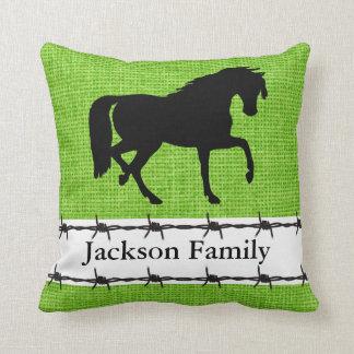 Family Name Faux Burlap Horse Silhouette Throw Pillow