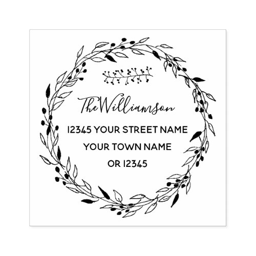 Family Name  Hand Drawn Wreath Return Address Rubber Stamp